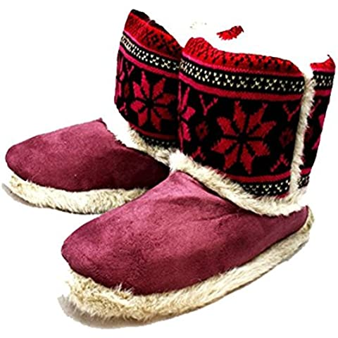 Piel de las señoras con bordes botas zapatilla superior hecha punto