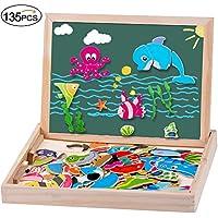 MOVEONSTEP Puzzles de Madera Magnética Doble Cara 135 PCS Rompecabezas Madera EducativosJuguete para Niños 3 Años +--Vida Marina + Alfabeto + Números