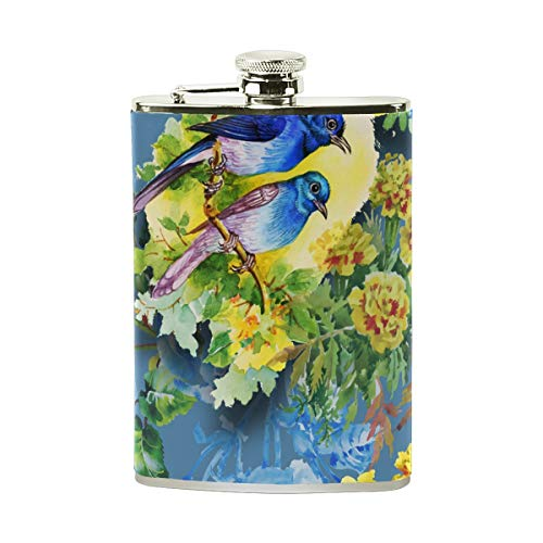 COOSUN - Botella con diseño de pájaros exóticos con flores y piel sintética envuelta, acero inoxidable a prueba de fugas, petaca de licor, 236 ml