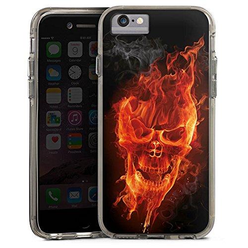 Apple iPhone X Bumper Hülle Bumper Case Glitzer Hülle Skull Totenkopf Feuer Bumper Case transparent grau