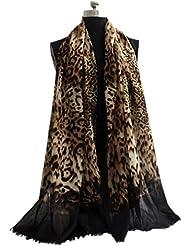 Prettystern - Leo Leopard gedruckt Tiermuster leicht 100% Wolle Pashmina Schal