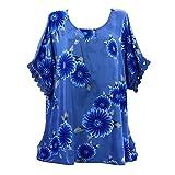 MOIKA Tshirt Damen, Damen Freizeit V-Ausschnitt Mode Damen Sommer Oberteile Shirt Plus Size Blumendruck Bluse Casual Tops