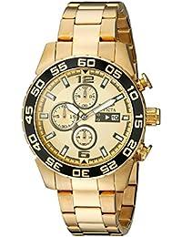 Invicta 1016 - Reloj para hombres, correa de acero inoxidable chapado color dorado
