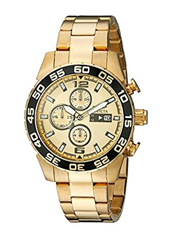 Invicta Specialty Men's Quartz Watch with Gold Dial Chronograph Display and 18K Gold Plated Stainless Steel Bracelet