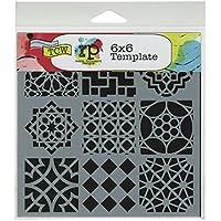 The Crafter's Workshop Plantilla para manualidades (15,3 x 15,3 cm), diseño marroquí, color blanco y negro