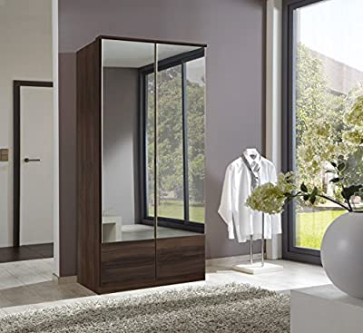 German Imago Walnut 2 Door Mirror Door Wardrobe - low-cost UK light store.