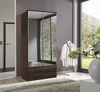 German Imago Walnut 2 Door Mirror Door Wardrobe - cheap UK light shop.