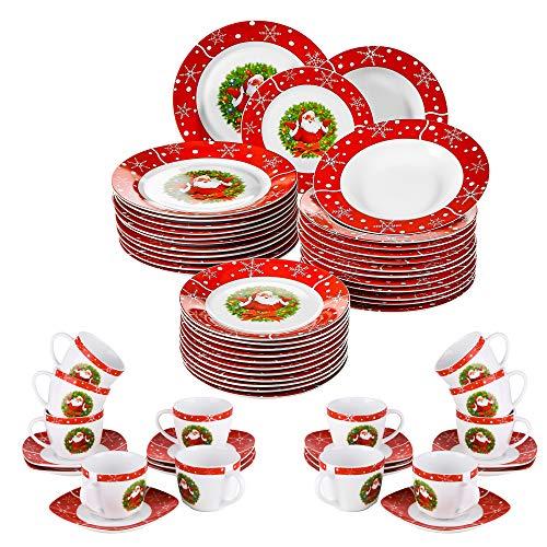 VEWEET, Serie SANTACLAUS, 60-teilig Porzellan Geschirrset, Weihnachten Geschirrservice, Teller mit Kaffeeservice für 12 Personen
