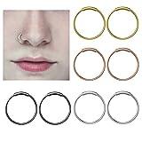 YHmall Edelstahl Scharnier Clicker Septum Piercing Nasenring Fake Hoop Lippen Ohr Ring - 8mm Test
