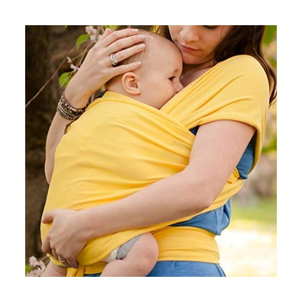 9-in-1 CuddleBug Baby Wrap Sling + Carrier - Newborns & Toddlers up to 36 lbs - Hands Free - Gentle, Stretch Fabric - Ideal for Baby Showers - One Size Fits All (Yellow) CuddleBug 9 WRAPS IN ONE - 9 different ways to comfortably carry your baby HANDS FREE! Newborn hold, breastfeed sling, front carry, side carry, back carry, cross carry, hip carry, kangaroo carry, side sling. GET THINGS DONE WHILE BONDING - Develop strong emotional bonds and constant stimulation with the flexibility and freedom to go where you want and get things done. COMFORTABLE AND SECURE - Support your baby in this MACHINE WASHABLE buckle-free, ring-free, Premium blend of 95% Cotton, 5% spandex. As gentle as wearing a T-shirt but strong enough to support your baby's head. 6