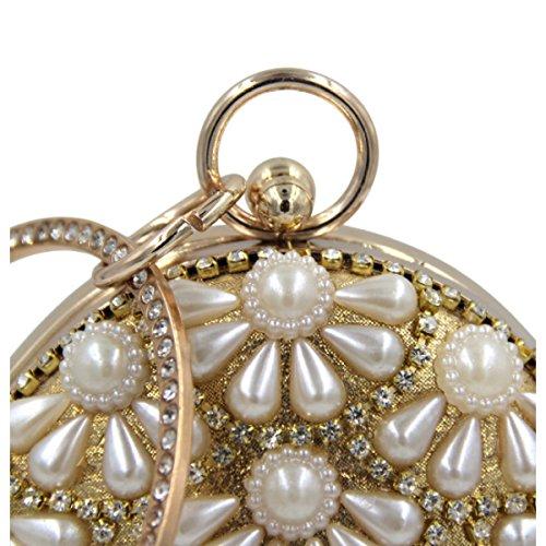 Frauen-Diamant-Abend-Beutel-Perlen-Handtasche Gold