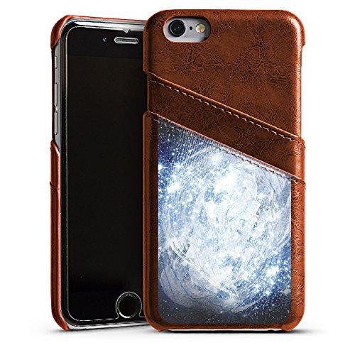 Apple iPhone 5s Housse Étui Protection Coque Univers Galaxie Galaxie Étui en cuir marron