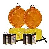 LED-MARTIN® 2er Sparset Warnleuchte - gelb - Blinklicht - Warnleuchten - Baustellenleuchte - Straßenbau - Absicherung - Straßenverkehr - Absperrtechnik