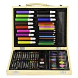 Childrens 67 PC Craft Art Artists Set in Wooden Box Case Crayons Paints Pens Pencils