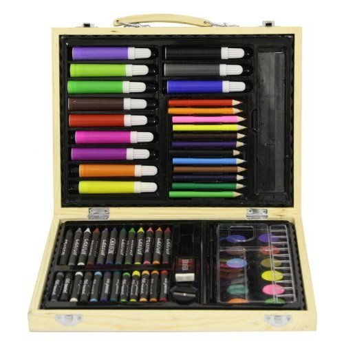 childrens-67-pc-craft-art-artists-set-in-wooden-box-case-crayons-paints-pens-pencils