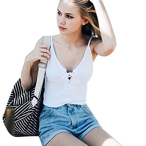 Sunnywill Frauen gestrickt Crop Tops Casual Baumwolle Tank-Tops für Mädchen Damen (M, Weiß)