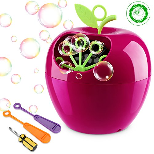 (apiker Seifenblasenmaschine Kinder, Bubble Machine Apple Form, Bubble Maker 800 Farbige Blasen in Einer Minute, ungiftigem ABS-Kunststoff, Seifenblasen Maschine für Hochzeit, Party, Familiencamping)