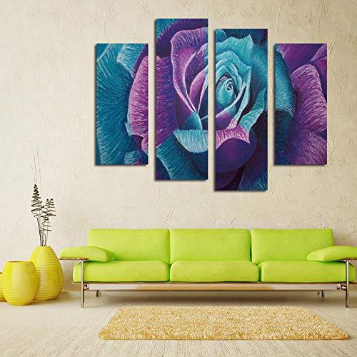 DefectWandgemälde Wandkunst für Wohnzimmer Vier Stücke Malerei mit Bild von Blue Violet Rose Haus Dekoration Wandbilder Ölgemälde auf Can Vas