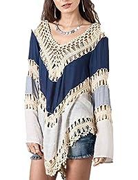 HSL Femme Sweater Pull Lache Sweat-Shirt Top Haut Tricot Manche Longue Col V, Bleu Marine*Beige, Taille Unique