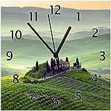 Wallario Glas-Uhr Echtglas Wanduhr Motivuhr • in Premium-Qualität • Größe: 30x30cm • Motiv: Toskana in Italien