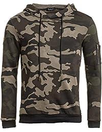 BLZ jeans - Sweat homme kaki camouflage à capuche
