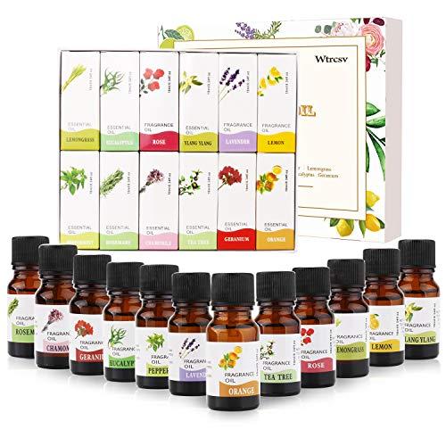 Wtrcsv Aromatherapie Ätherische Öle Duftöle Geschenkset für Diffuser (12er x 10ml) - 100% Pure Aroma Duftöl - Ätherisches Öle Set Essential Oils - Seifenduft Kerzenduftöl