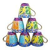 Set di 6 tazze / tazzine / mug in porcellana fine (bone china) per caffè o cappuccino, dipinte a mano con disegni originali 'Regina'. Lussuoso cofanetto regalo rosa e nero.