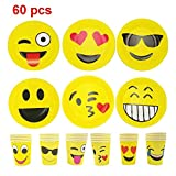 JZK 30 Emoji paper plates dishes and 30 Emoji paper cups for Emoji party adult children birthday party supply kids party tableware accessory