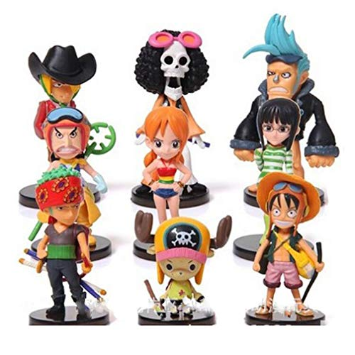 EASTVAPS 9pcs One Piece Luffy Figura Muñeca Modelo Toy Doll Adornos de Coches