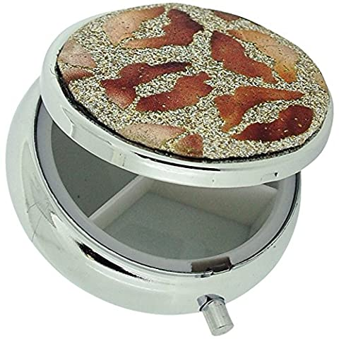 Pill Box Silver Plated Gold Glitter & Bronze Lips Print Compact Travel Pill Case SC1001