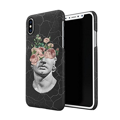 Floreale Wild Fiore Ancient Marmo Sculpture Head Custodia Posteriore Sottile In Plastica Rigida Cover Per iPhone 5 & iPhone 5s & iPhone SE Slim Fit Hard Case Cover Floral Sculpture