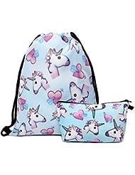 hellat chien Fashion 2morceaux/Pack Sac à dos école femmes sac pour les filles Sac Hipster poche de sac à dos sac de gym avec trousse Licorne