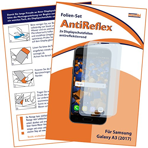mumbi Schutzfolie kompatibel mit Samsung Galaxy A3 2017 Folie matt, Displayschutzfolie (2x)