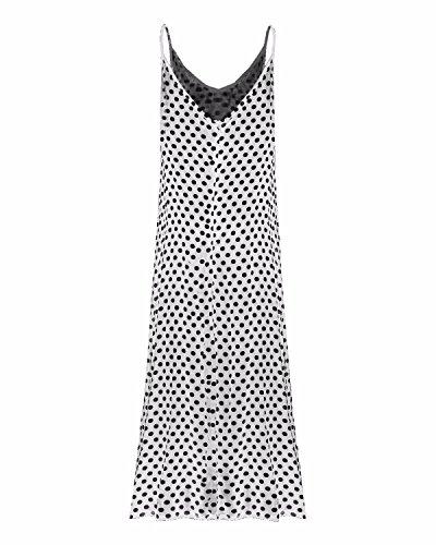 ZANZEA Donne Scollo a V Pois Tasca Vestito lungo Abito della Boemia Abito da Sera del Partito Vestito mare Vestito estivo (IT 44, Bianco)