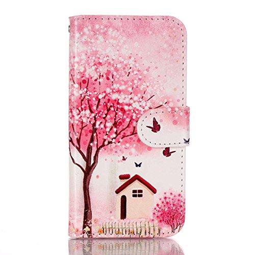 Voguecase® für Apple Iphone SE hülle ,Kunstleder Tasche PU Schutzhülle Tasche Leder Brieftasche Hülle Case Cover (Pflaumen/Hirsch) + Gratis Universal Eingabestift Kirschblüten