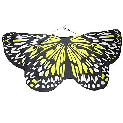 YWLINK Eltern Kind Chiffon Klassisch Karneval Bohemien Schmetterling Print Schal Jungen MäDchen Cosplay ZubehöR Erwachsener Weihnachten Halloween FlüGel Umhang Bunt Pashmina(Größe:147 * 70CM,ElternG)