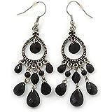 Burn Silver Marcasite Black Acrylic Bead Drop Earrings - 75mm Length