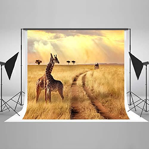 Kate 7x5ft/2.2x1.5m Dschungel Safari Kulisse Herbst Foto Kulisse Landschaftlich Giraffe Waschbar Hintergrund für Kinder Fotografie Studio
