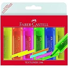 Faber-Castell 154642 - Estuche de 6 rotuladores Textliner 1546, 1 - 5 mm, contenido: 3x amarillo, 1x naranja, 1x rosa, 1x verde