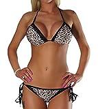 ALZORA Neckholder Damen Bikini Set in Leopard Leo Schwarz Spitze Bänder Push Up Top und Hose, 20070 (M)
