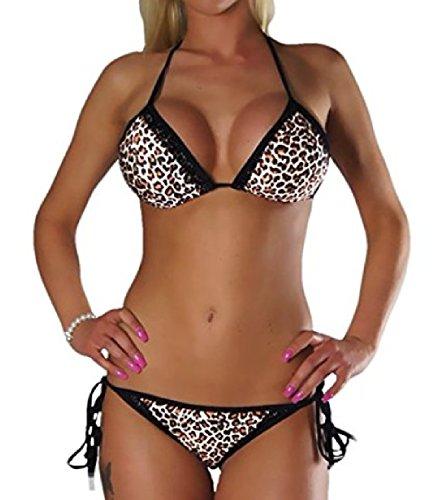 ALZORA Neckholder Damen Bikini Set in LEOPARD Leo Schwarz Spitze Bänder Push Up Top und Hose , 20070 (XS) (Bikini Leopard Nylon)