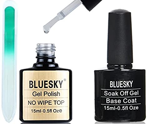 Bluesky No Wipe Top and Base Coat Nail Gel Polish 15ml Large PLUS Crystal Glass Nail File in a Protective Case