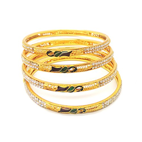 Eshopitude Golden Cz American Diamond Gold Plated Bangle Set For Women  available at amazon for Rs.199