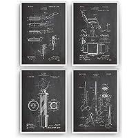 Barbería Poster de Patente - Pack de 4 Láminas - Patent Póster Con Diseños Patentes Decoracion de Hogar Inventos Carteles Prints Wall Art Posters Regalos Decor Blueprint - Marco No Incluido
