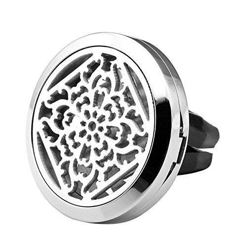Zysta Diffuseur Voiture Odeur Parfum Huile Essentielle Désodorisant Dessin Celtique/Fleur+12pcs Coton pour Décor Conditionneur d'Air Grille d'Aération(Fleur)