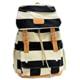 Coofit Donne Canvas Shoulder Bag Zainetto Retrò Strisce Viaggio Tempo Libero Zaino