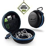 #6: Gizga Essentials Earphone Case - Multi Purpose Pocket Storage Travel Organizer Case for Earphone, Pen Drives, Memory Card, Data Cable - Carbon Fibre (Black/Blue)