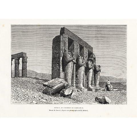 Antiguo ThePrintsCollector cruzerlite-tebas-Ramesseum-Osirid estatuas-ruinas-Egipto-Reclus-Benoist-1885