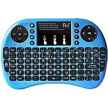 Rii Mini i8+ - Teclado ergonómico con touchpad/ retroiluminación.Compatible con SmartTV, Mini PC, Android, PS3, PS4, Xbox, HTPC, PC, Raspberry Pi, Kodi, XBMC, IPTV, MacOS, Linux y Windows XP/7/8/10 (ES-MWK08+[2.4Ghz] Blue)