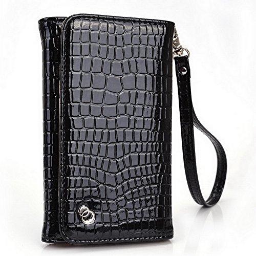 Kroo Croco Dragonne Étui portefeuille universel pour smartphone Lava Iris 404Flair/X1Mini Mobile rouge - rouge noir - noir